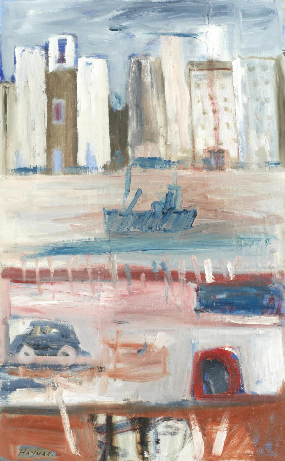 Patrick Hayman - Riverside With Tall Buildings-1983