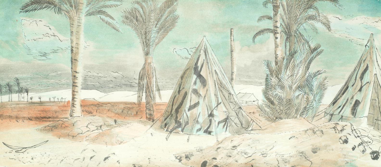 Edward Bawden-Padres Tent At Mersa Matruh-