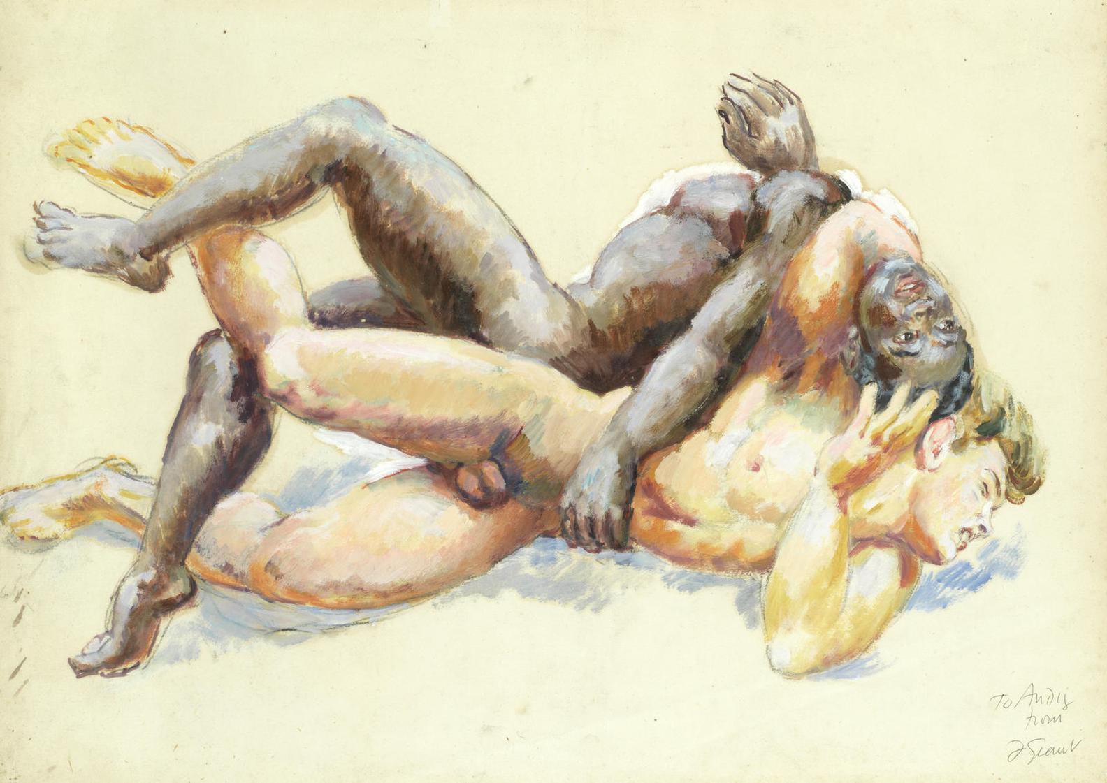 Duncan Grant-Nude Wrestlers-