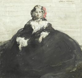 Sir William Nicholson - Portrait Of A Young Girl In A Black Dress-1908