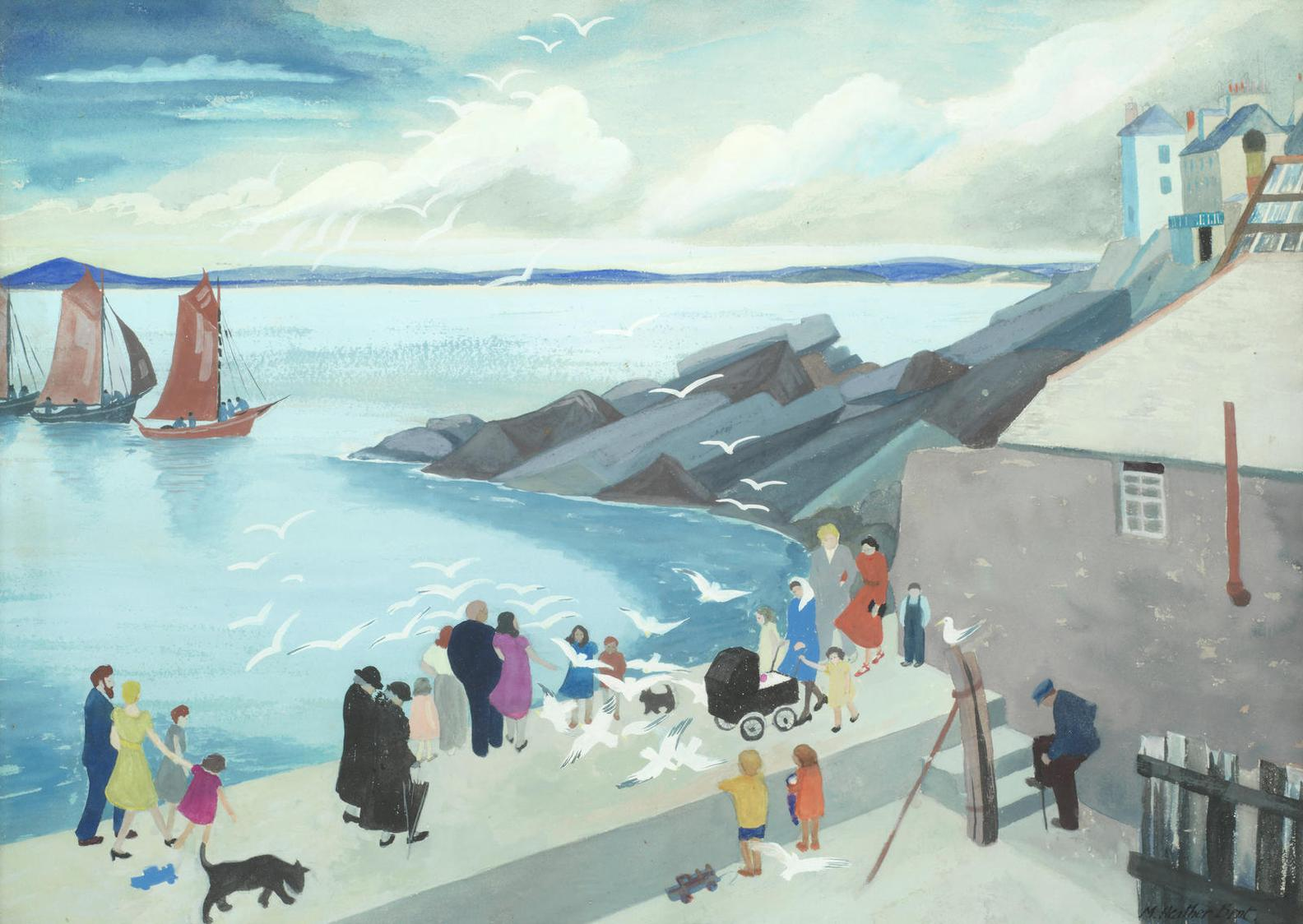Medora Heather Bent - Harbour Scene, Probably In Co Galway-
