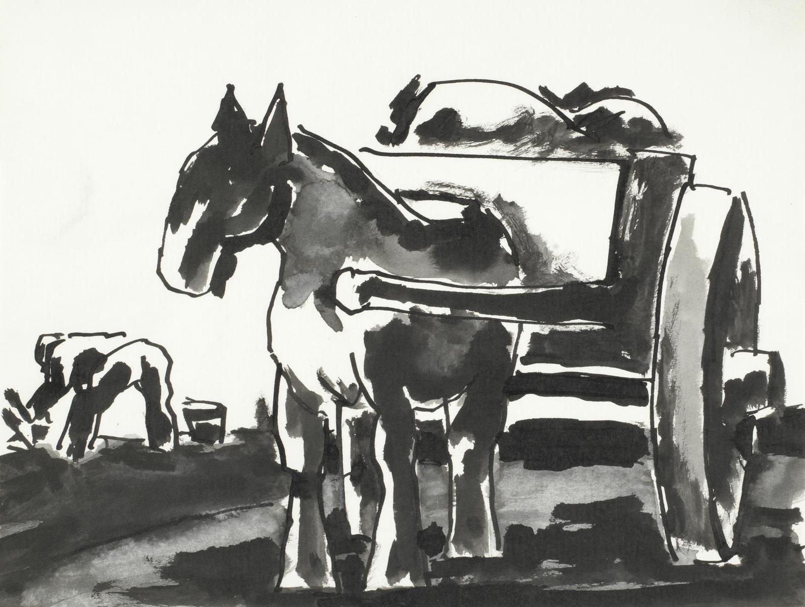 Josef Herman-The Cart Horse-