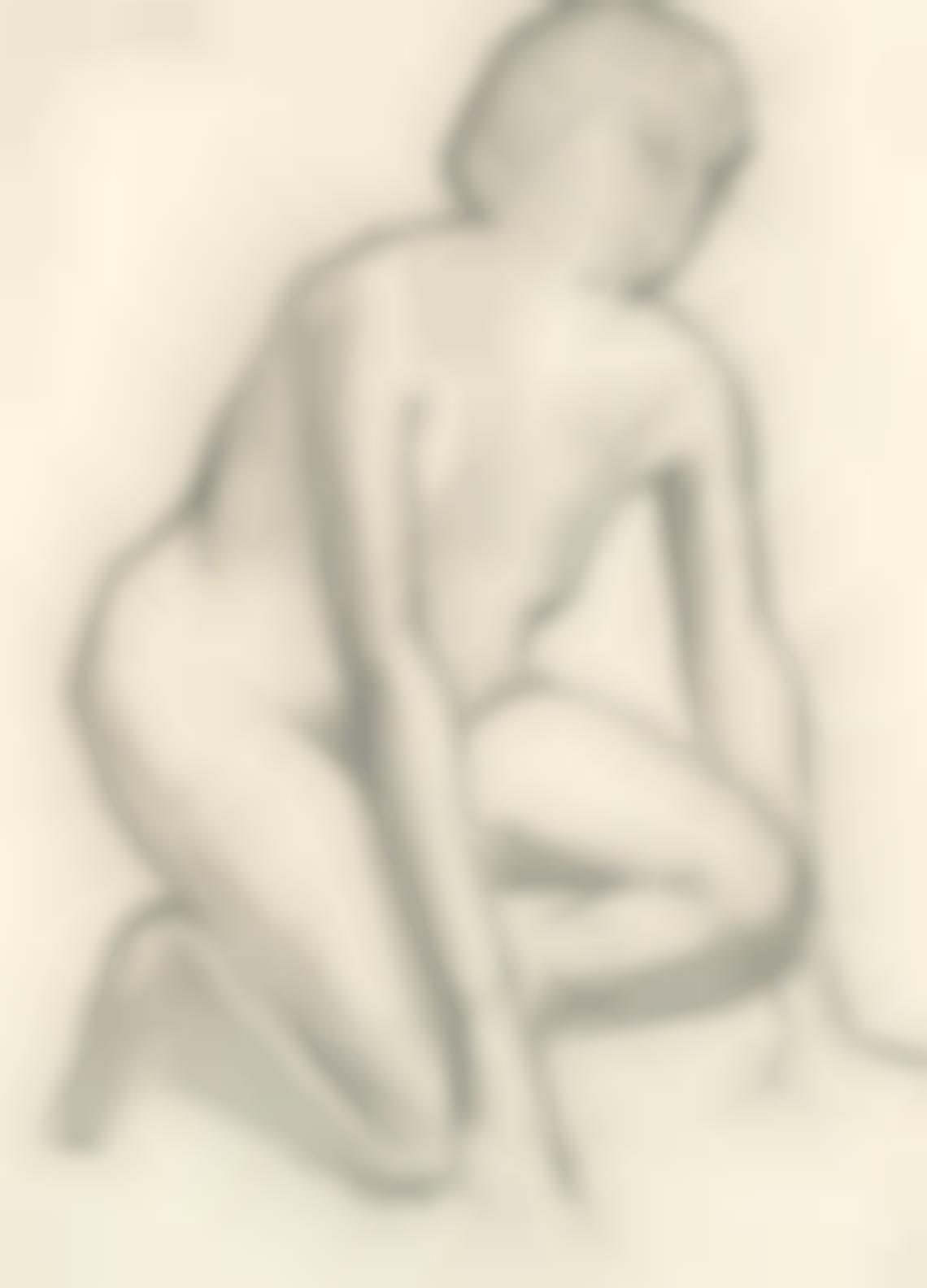 Laurence Stephen Lowry-Study Of A Kneeling Nude-