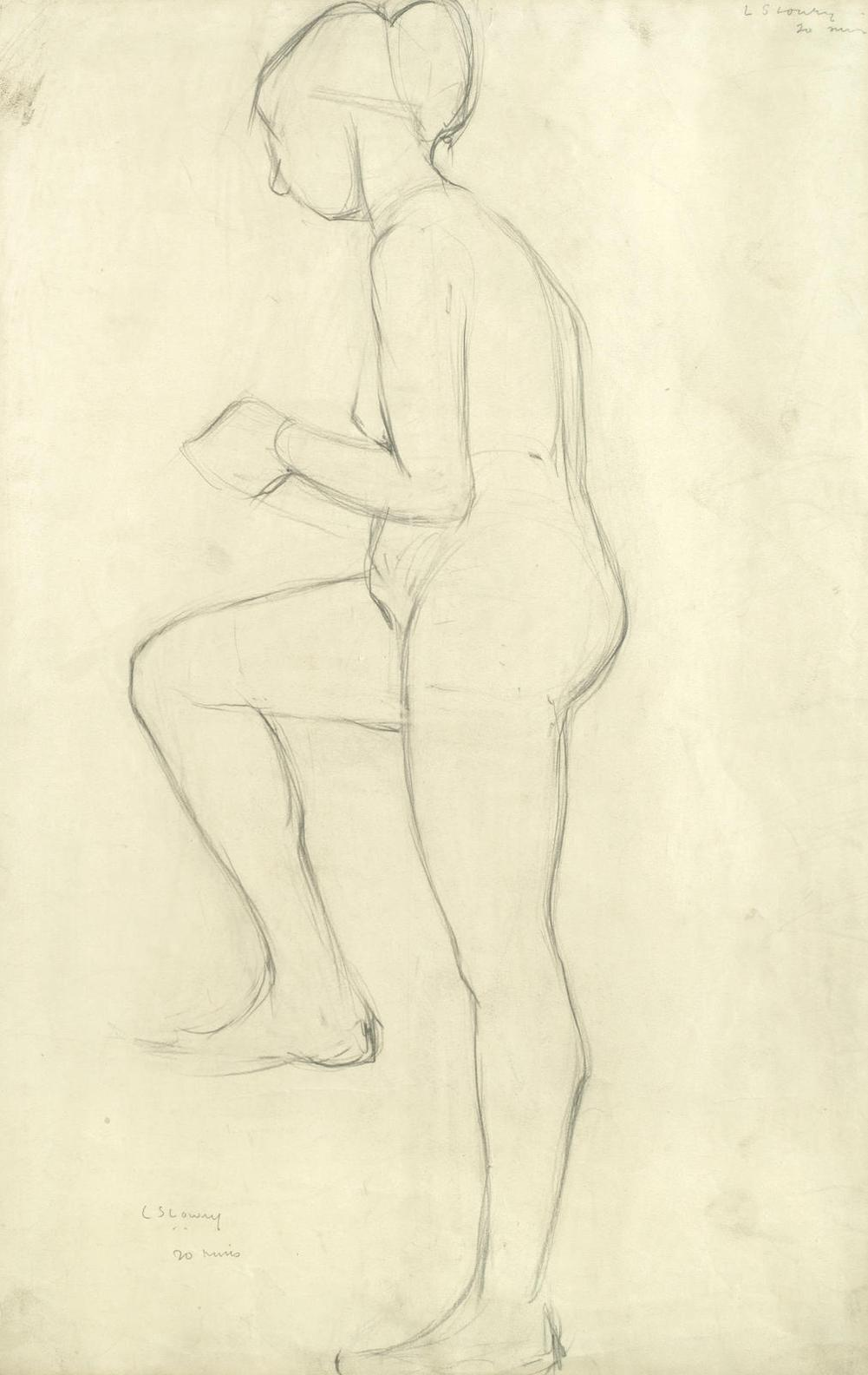 Laurence Stephen Lowry-Study Of A Standing Nude-1920