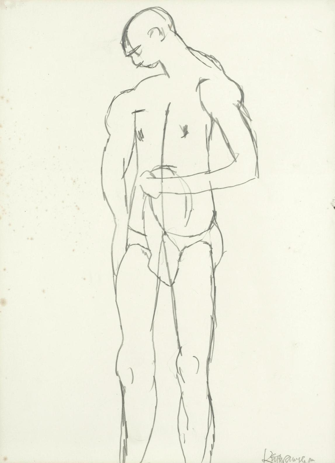 Keith Vaughan-Standing Male Nude-