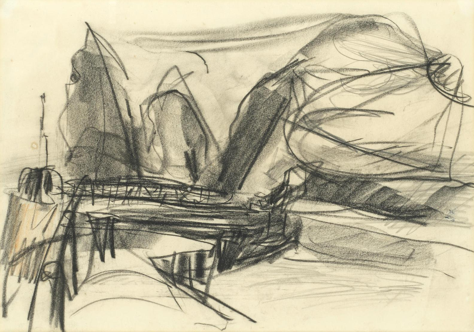 Peter Lanyon-Sketch For Mullion Bay - The Cliffs-1955