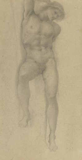 Sir Edward Coley Burne-Jones Bt. - Study For The Slave In The Wheel Of Fortune