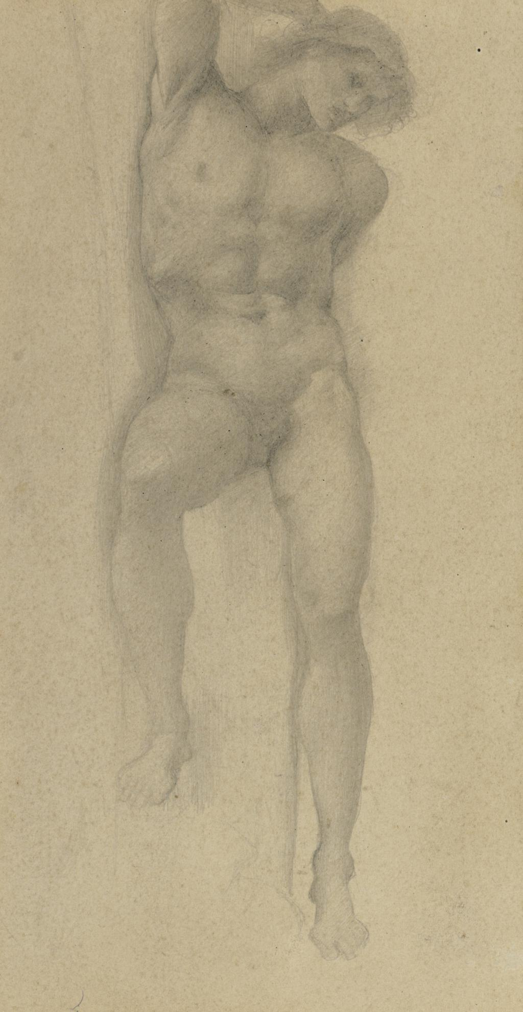 Sir Edward Coley Burne-Jones Bt. - Study For The Slave In The Wheel Of Fortune-