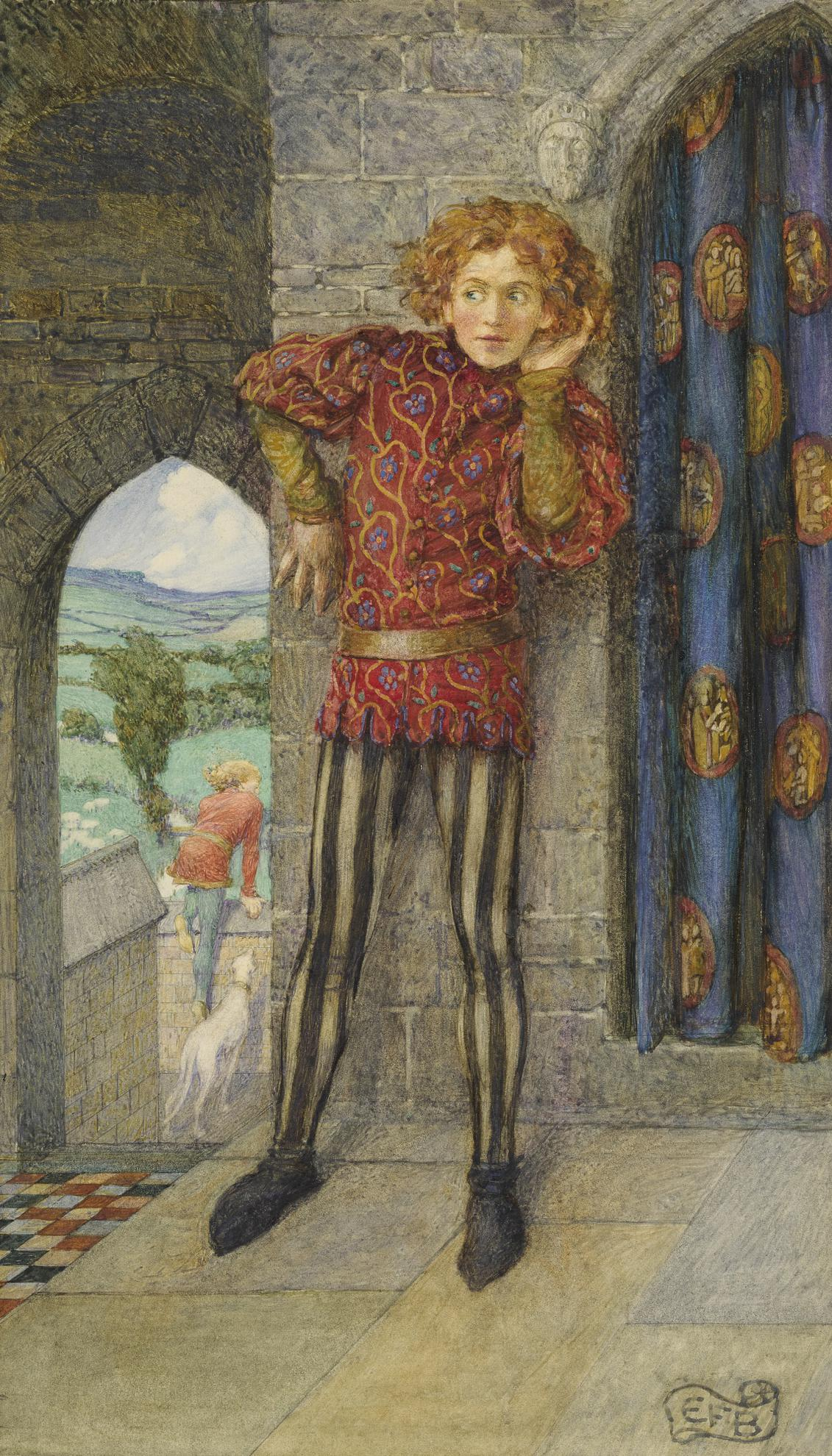 Eleanor Fortescue-Brickdale - But Mordred Laid His Ear Beside The Door And There Half Heard - The Coming Of Arthur-