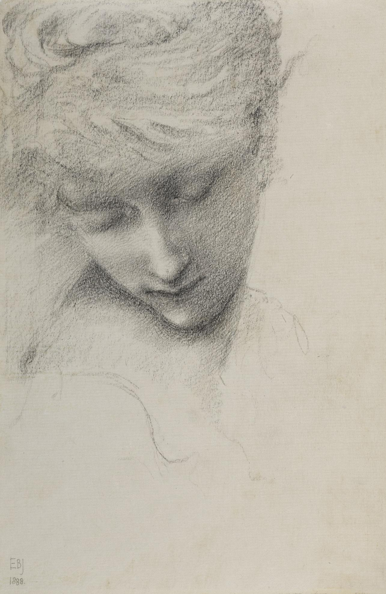Sir Edward Coley Burne-Jones Bt. - Study Of A Female Head In The Garden Court-1888
