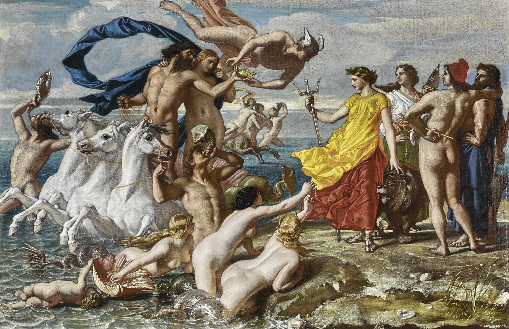 William Dyce - Neptune Resigning To Britannia The Empire Of The Sea, A Scheme For A Fresco At Osborne House-1847