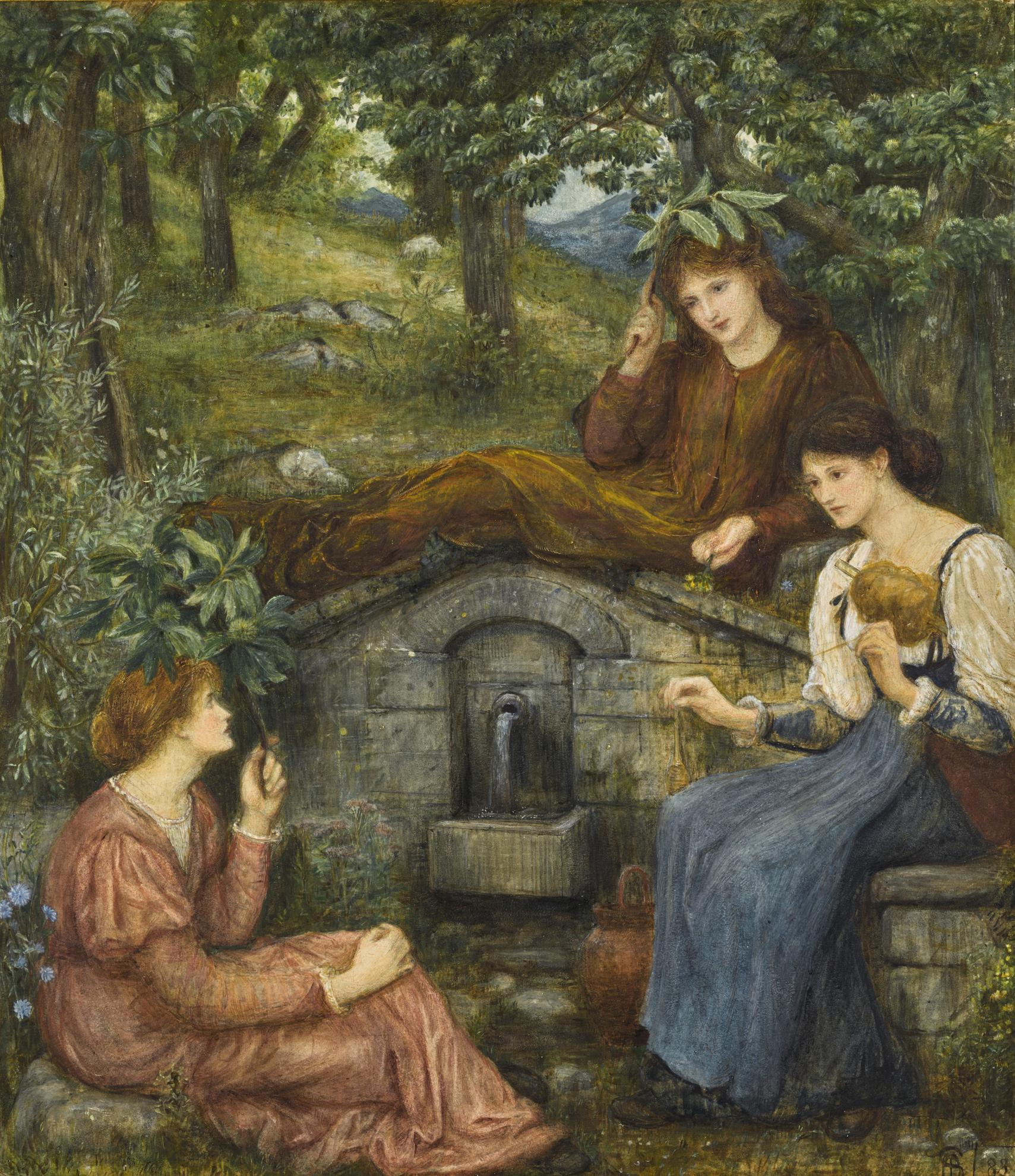 Marie Spartali Stillman - By A Clear Well, Within A Little Field-1883