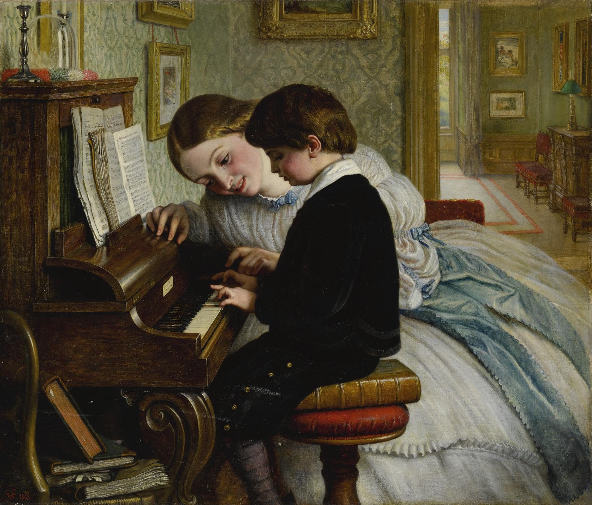 Charles West Cope - The First Music Lesson-1863
