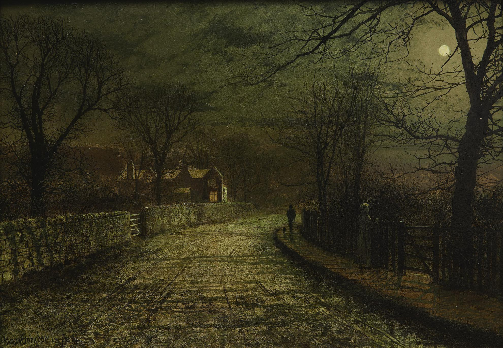 John Atkinson Grimshaw - The Moonlit Rendezvous (Old House On Whitby Road)-1878