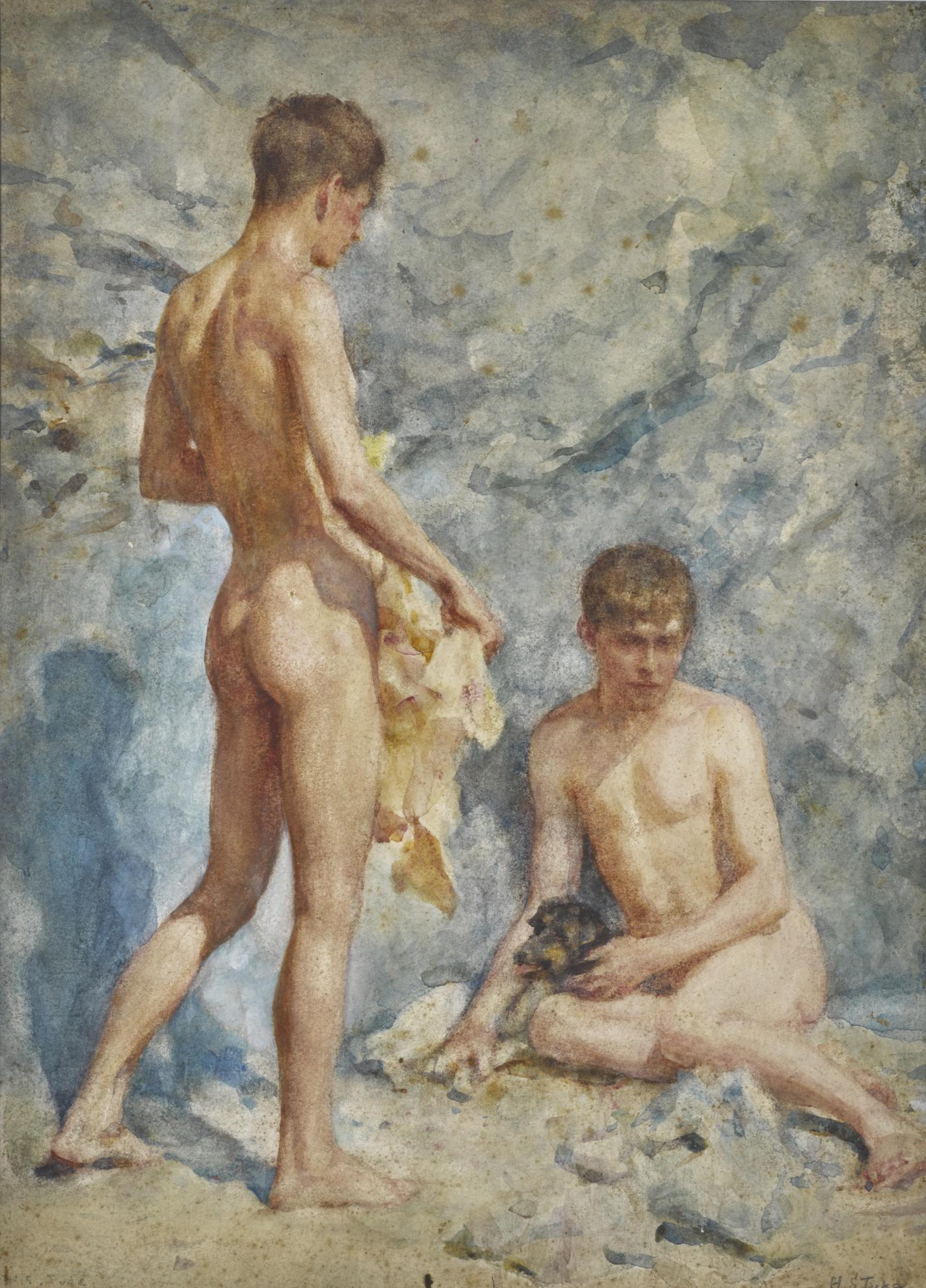 Henry Scott Tuke - Blue And Gold (Two Boys And A Dog)-