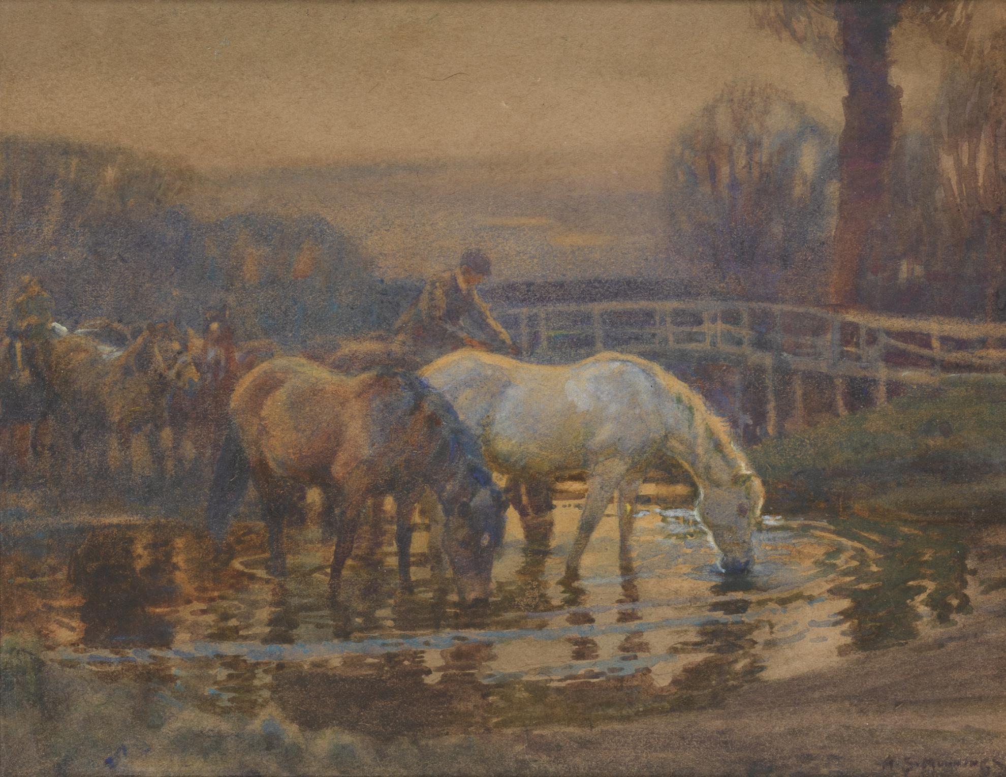 Sir Alfred James Munnings P.R. - Crossing The Ford-