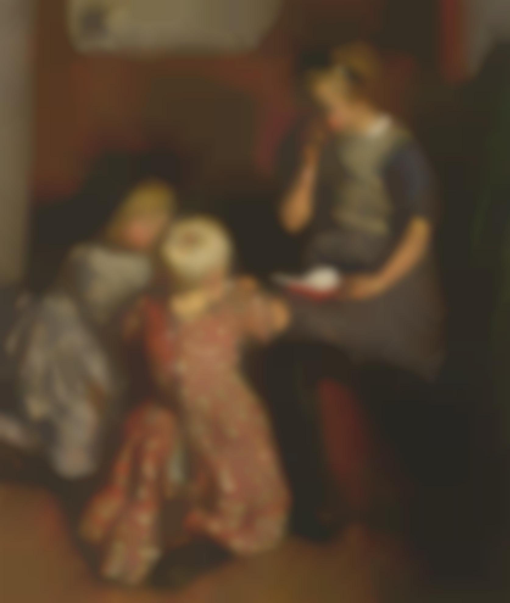 Dame Laura Knight-Interior With Children Reading-