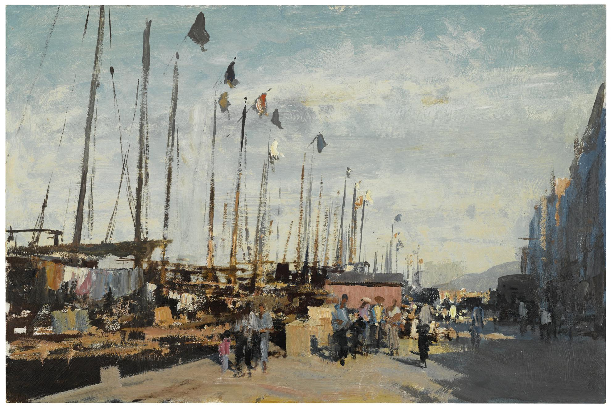 Edward Seago-Quayside At Aberdeen, Hong Kong-