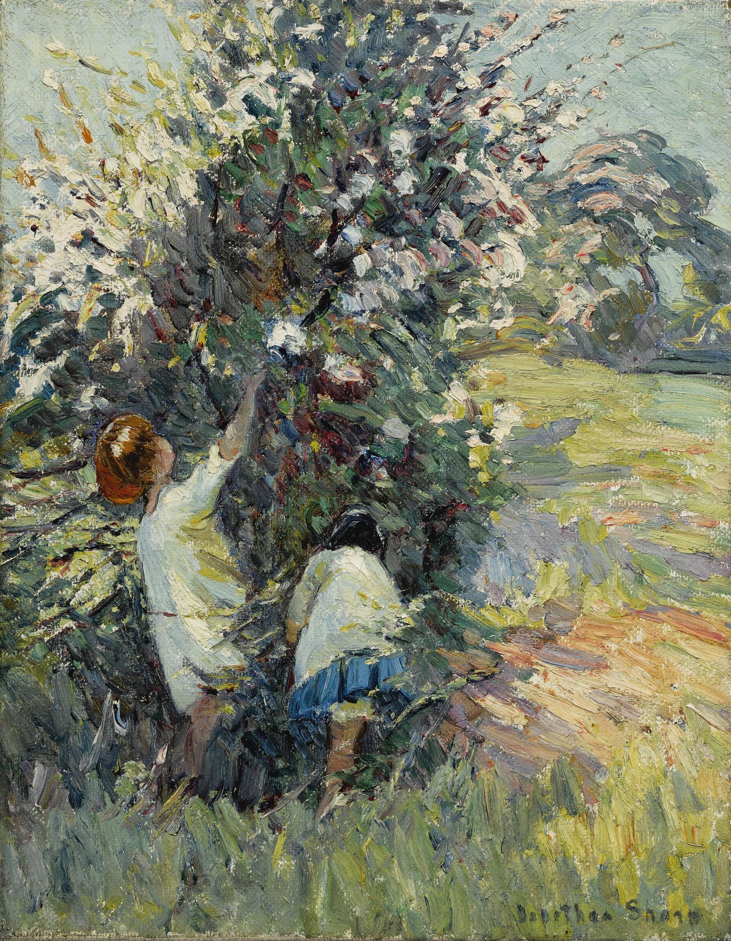 Dorothea Sharp R.O.I. V.P.S.W.A. - Children Picking Blossoms-