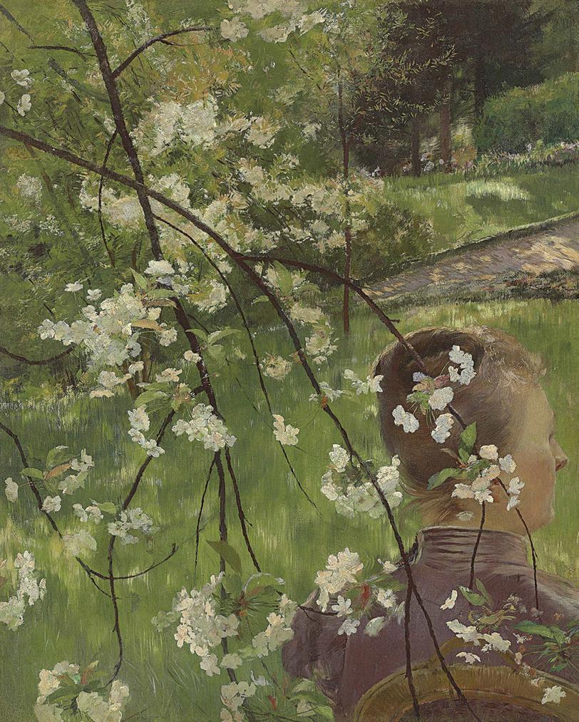 Gaston La Touche - Jeune Femme A Branche De Fleurs-1890