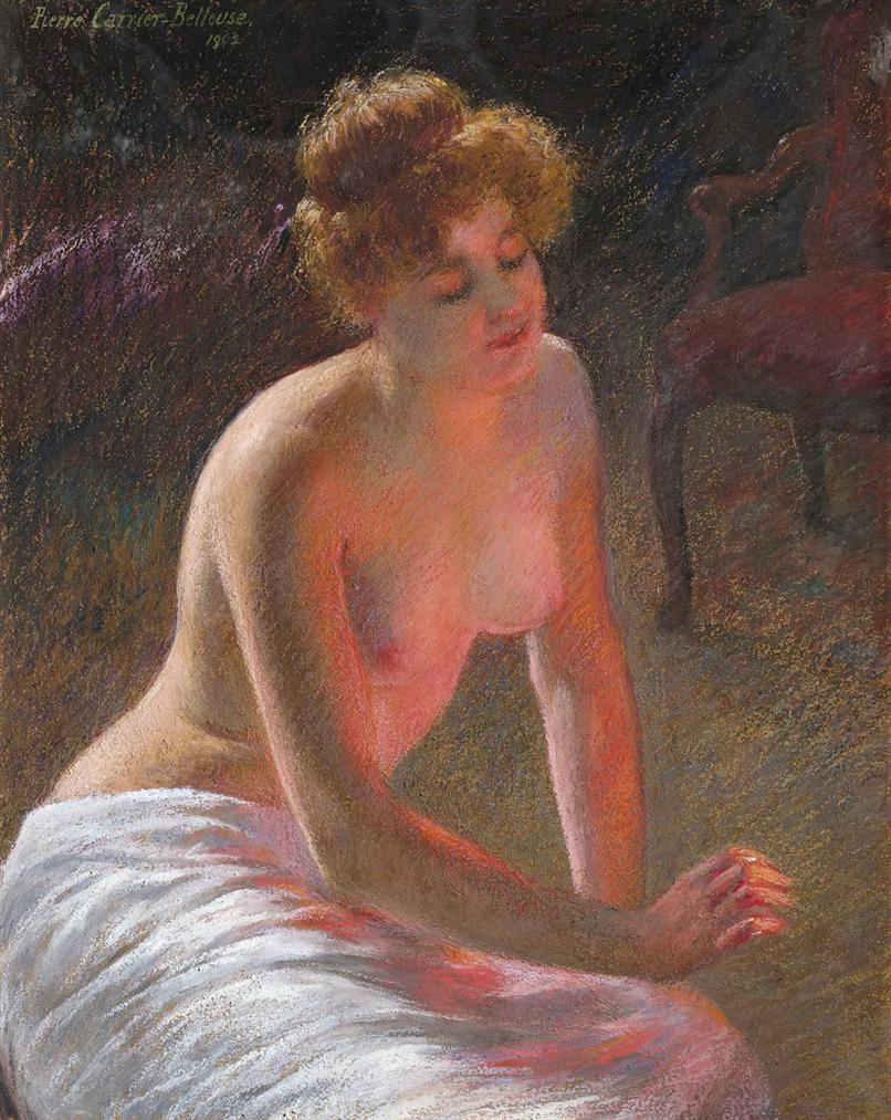 Pierre Carrier-Belleuse - Contemplation By Firelight-1902