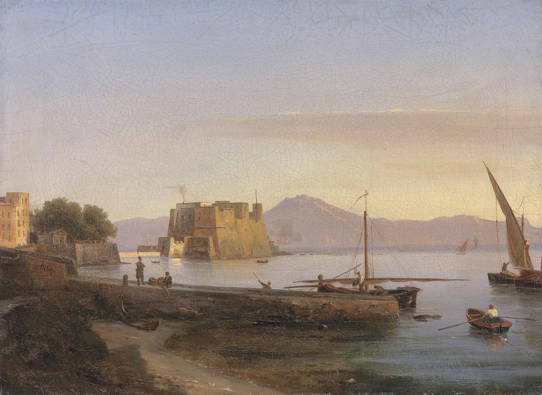 Anthonie Sminck Pitloo - Fishermen Castel Dell Ovo, Naples-