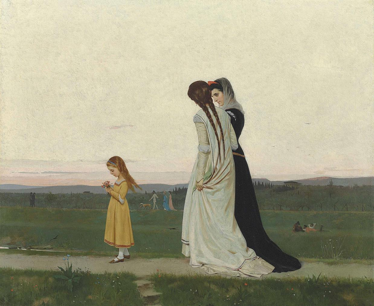 Raffaello Sorbi - The Evening Walk-Environs Of Florence-1870