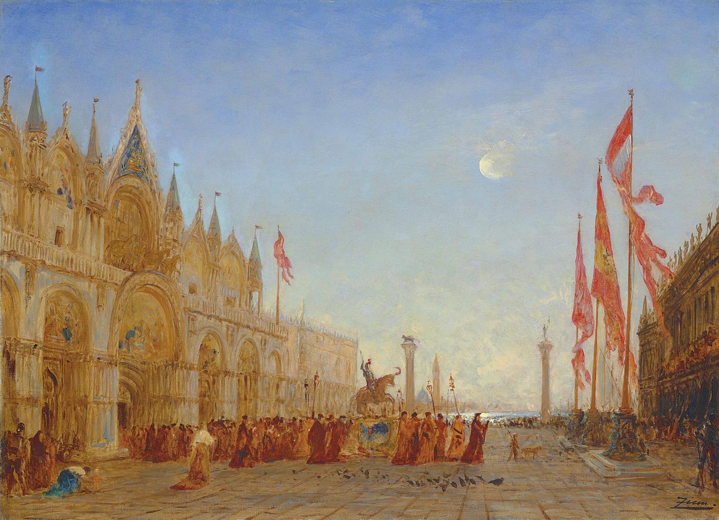 Felix Ziem-Le Triomphe De Saint Georges Majeur-