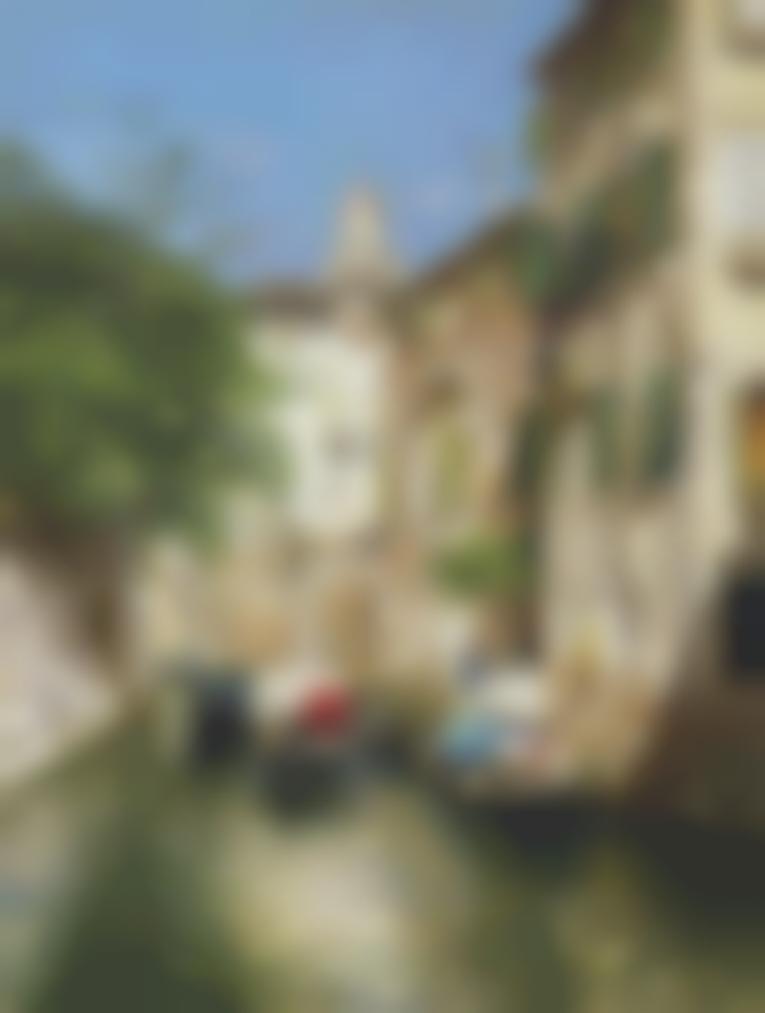 Rubens Santoro - Gondoliers On A Venetian Canal-
