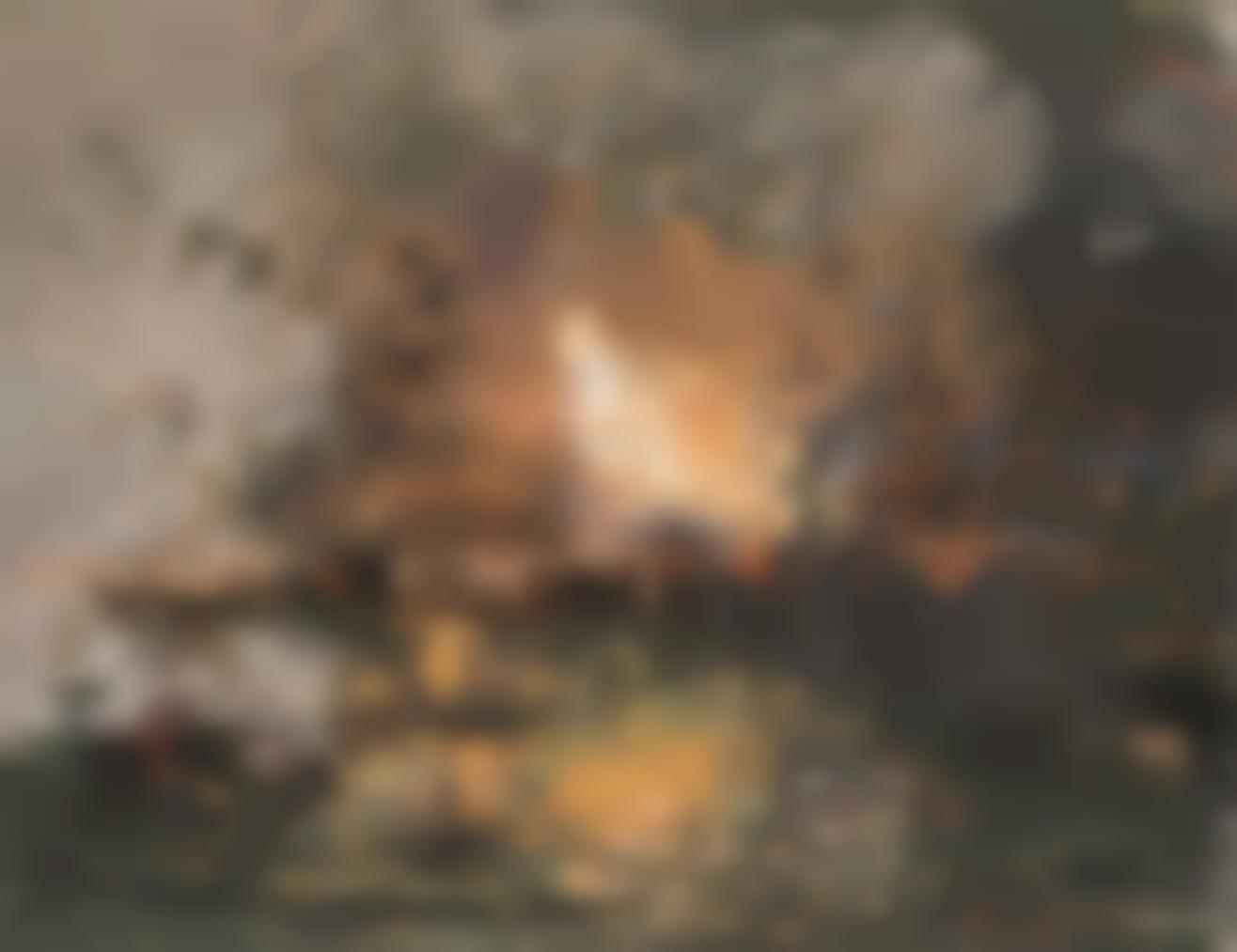 Pompeo Mariani - Boat On Fire In A Harbour-