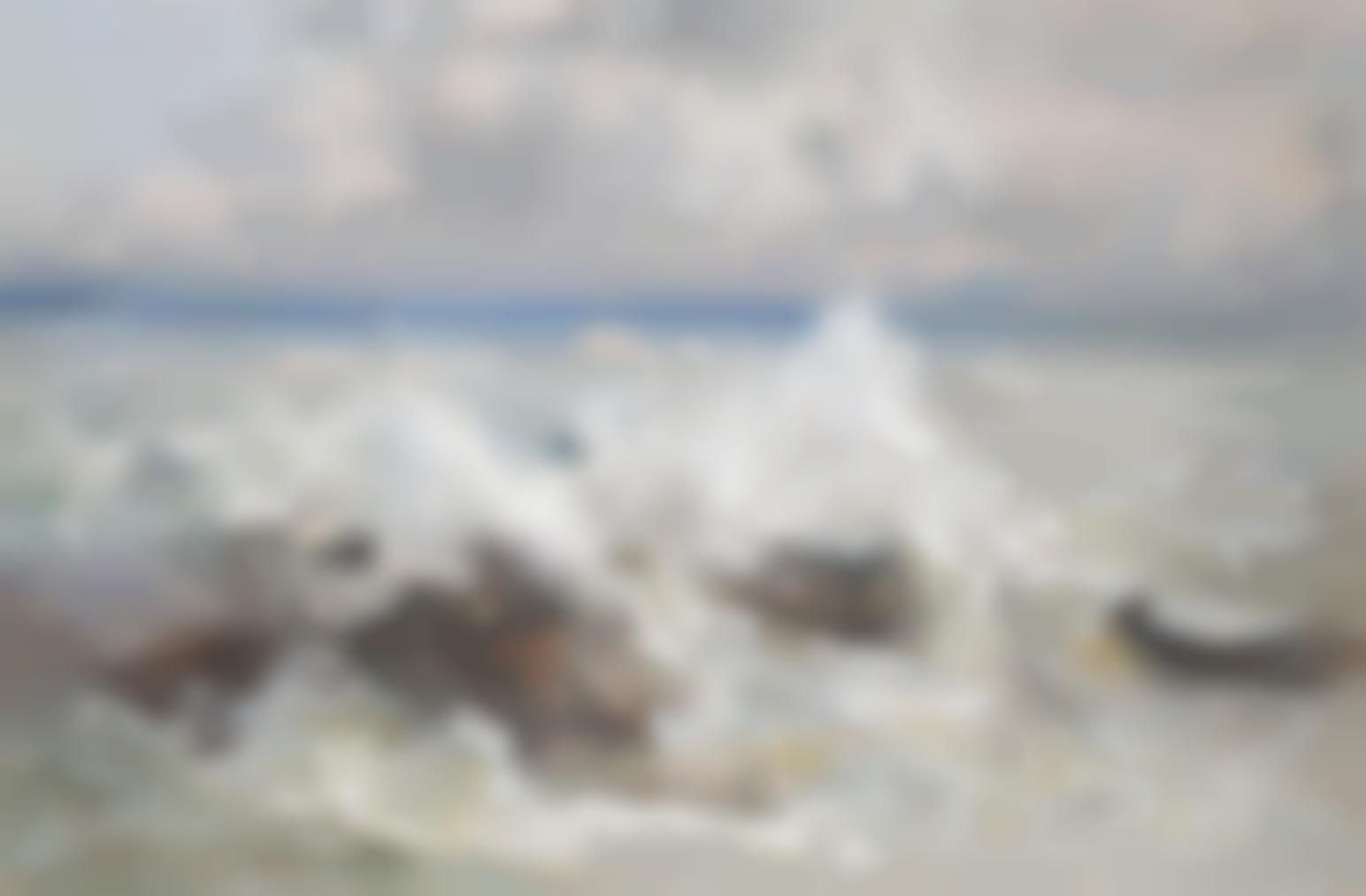 Pompeo Mariani - Waves Crashing On The Rocks At Bordighera-1919