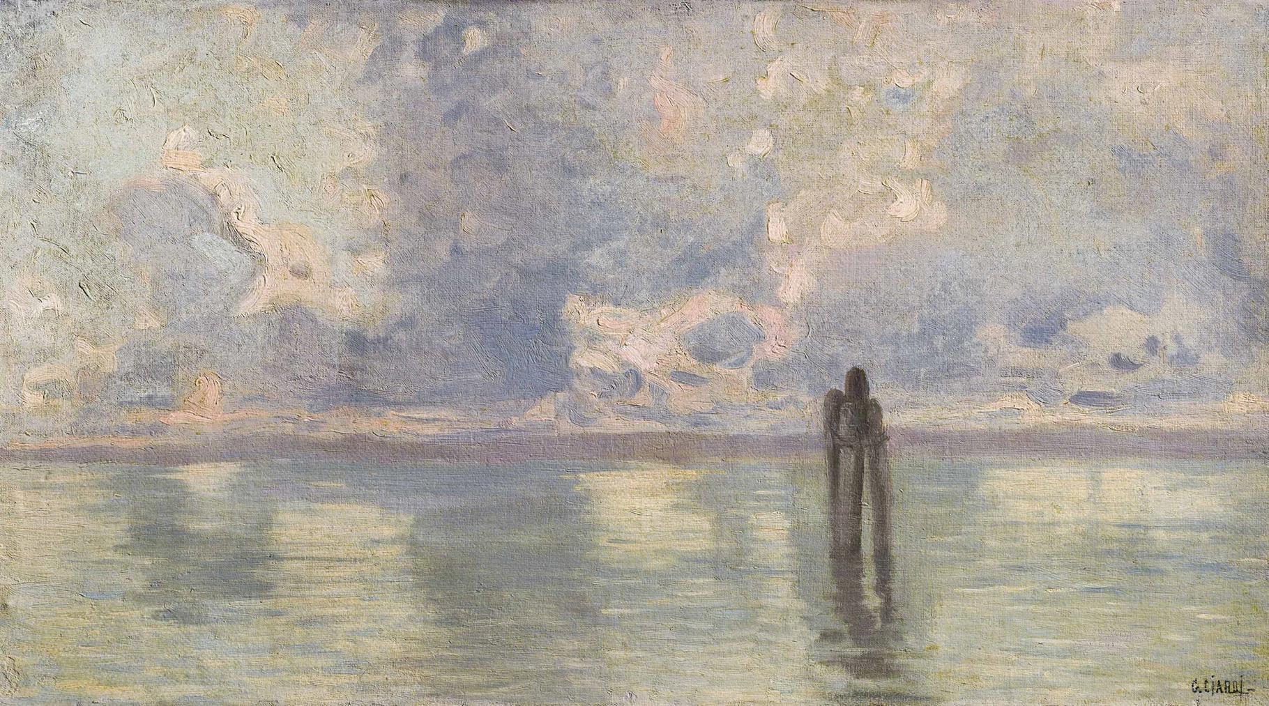 Guglielmo Ciardi - View Of The Lagoon, Venice-