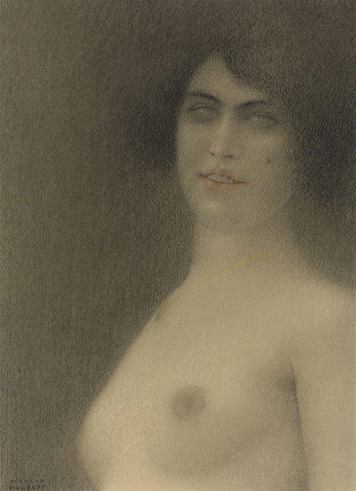 Fernand Khnopff - Des Cheveux Noirs (Lange Du Mal)-1914