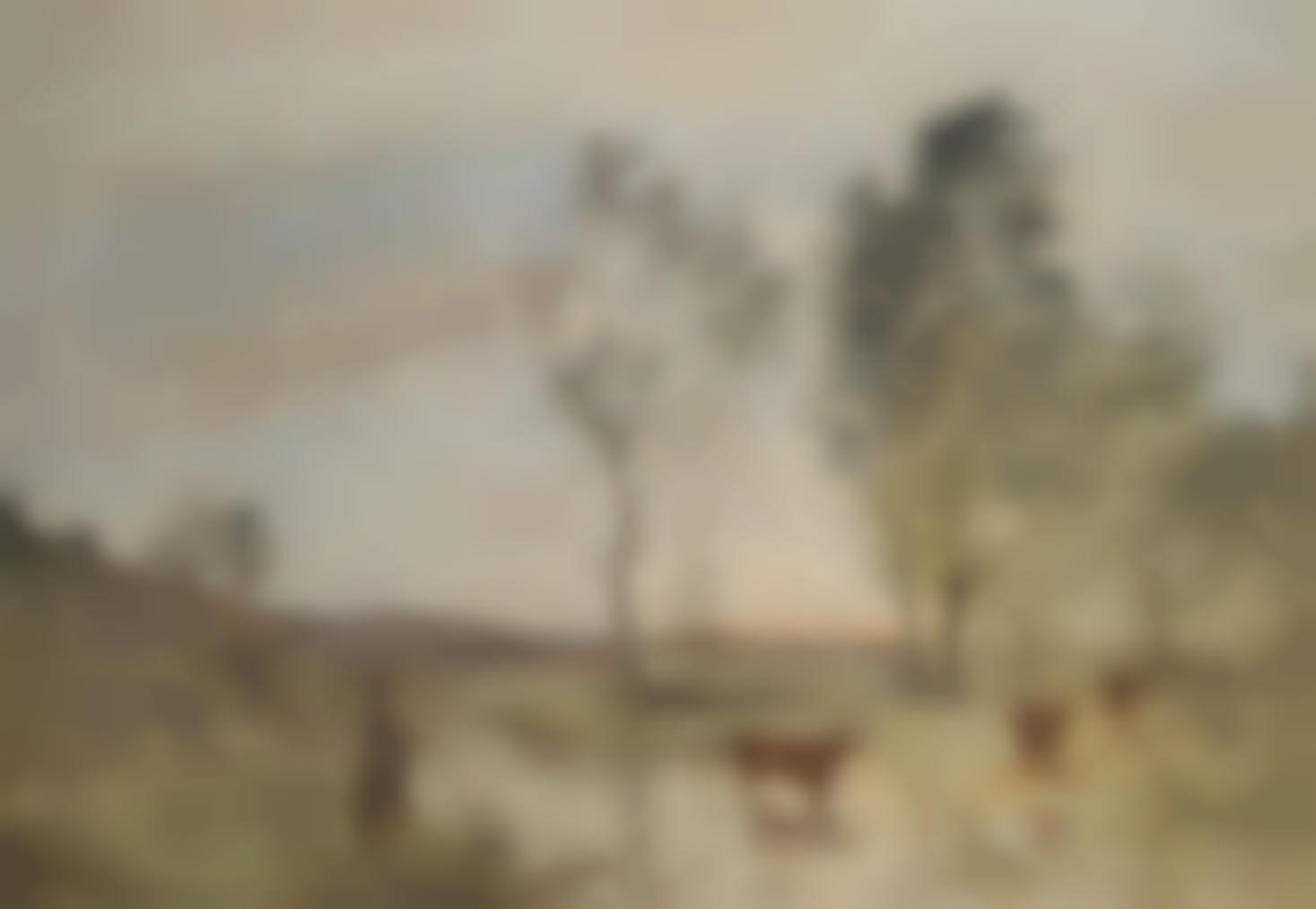 Jean-Baptiste-Camille Corot-Bord Du Gue, Vaches Au Bord Du Gue-1873