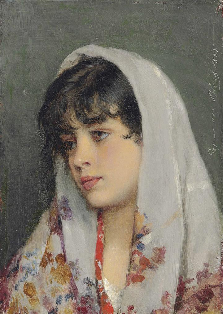 Eugen Von Blaas - A Venetian Beauty-1865