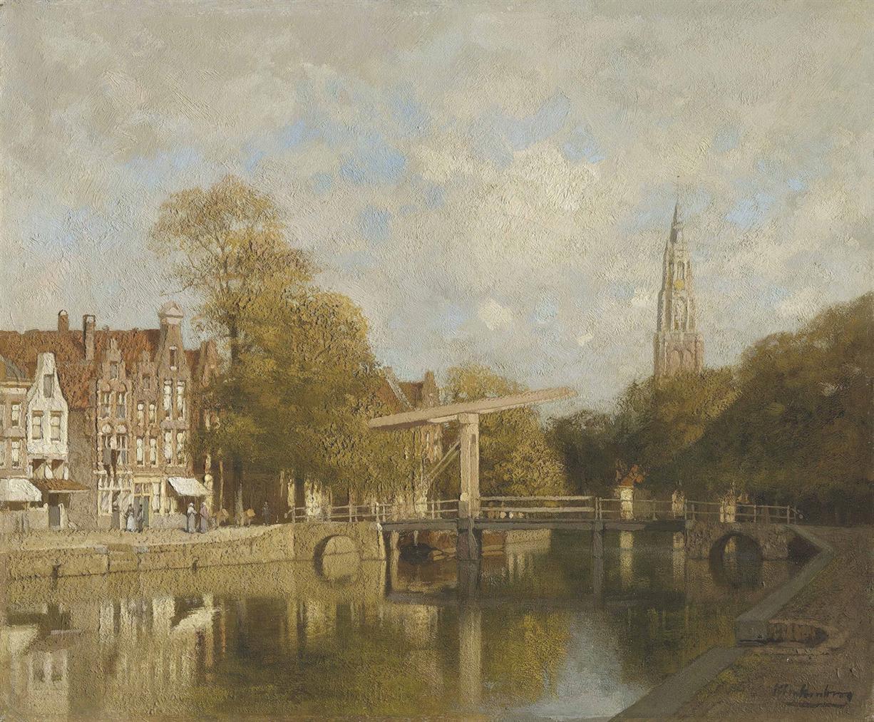 Johannes Christiaan Karel Klinkenberg - A View Of Delft With The Nieuwe Kerk In The Distance-