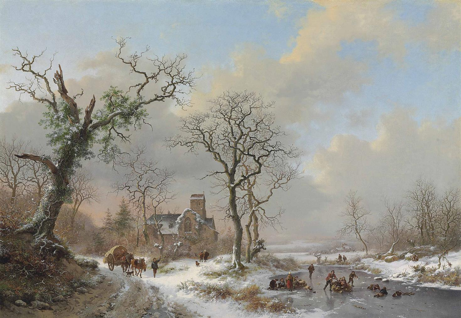Frederik Marinus Kruseman - Winter Landscape With Skaters And A Covered Wagon Near A Church-1870