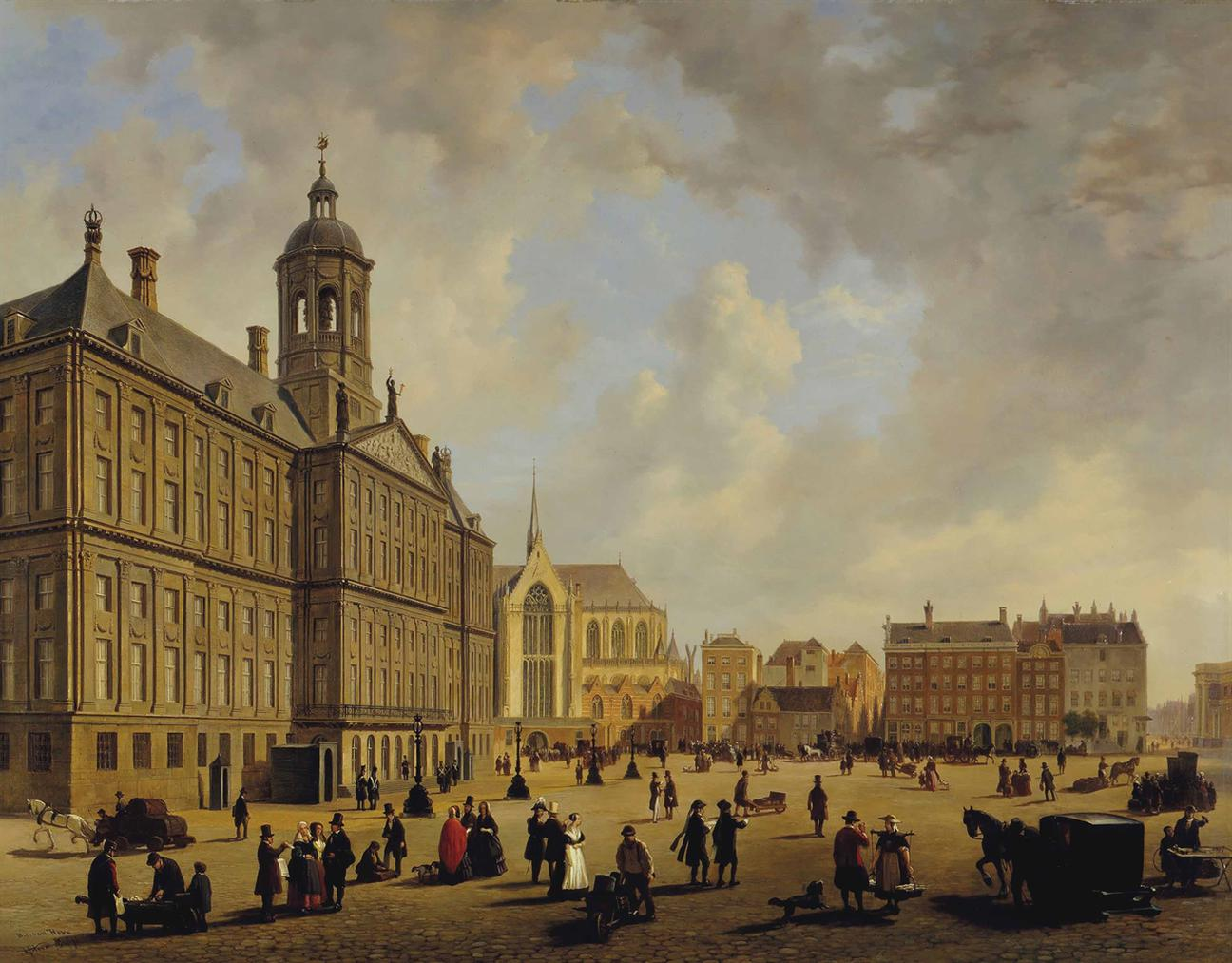Bartholomeus Johannes Van Hove - A Bustling Day In Front Of The City Hall On The Dam Square, The Nieuwe Kerk In The Distance, Amsterdam-