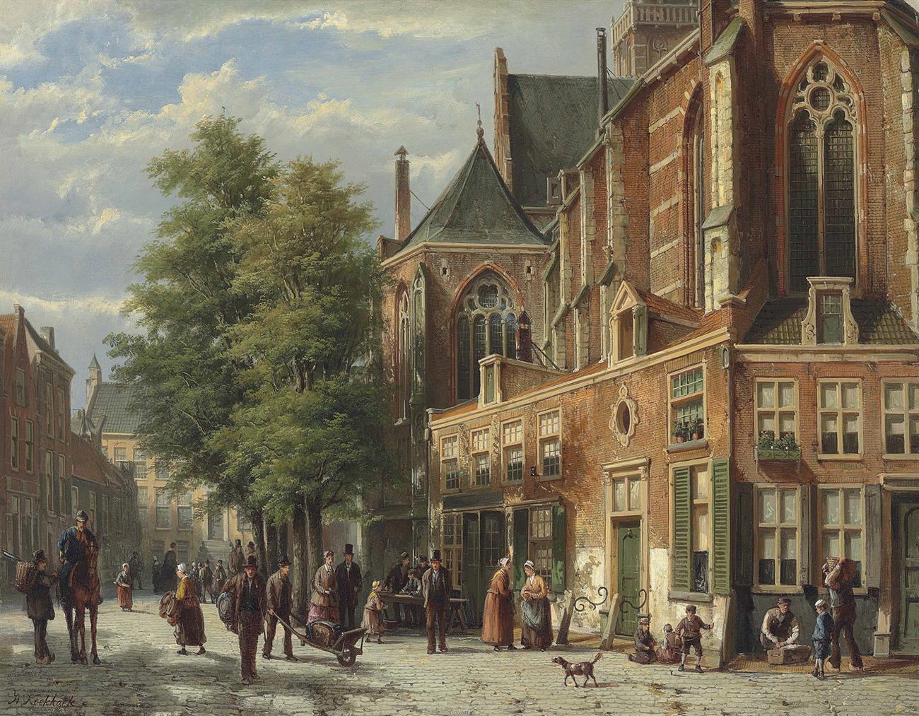 Willem Koekkoek - A Bustling Street-