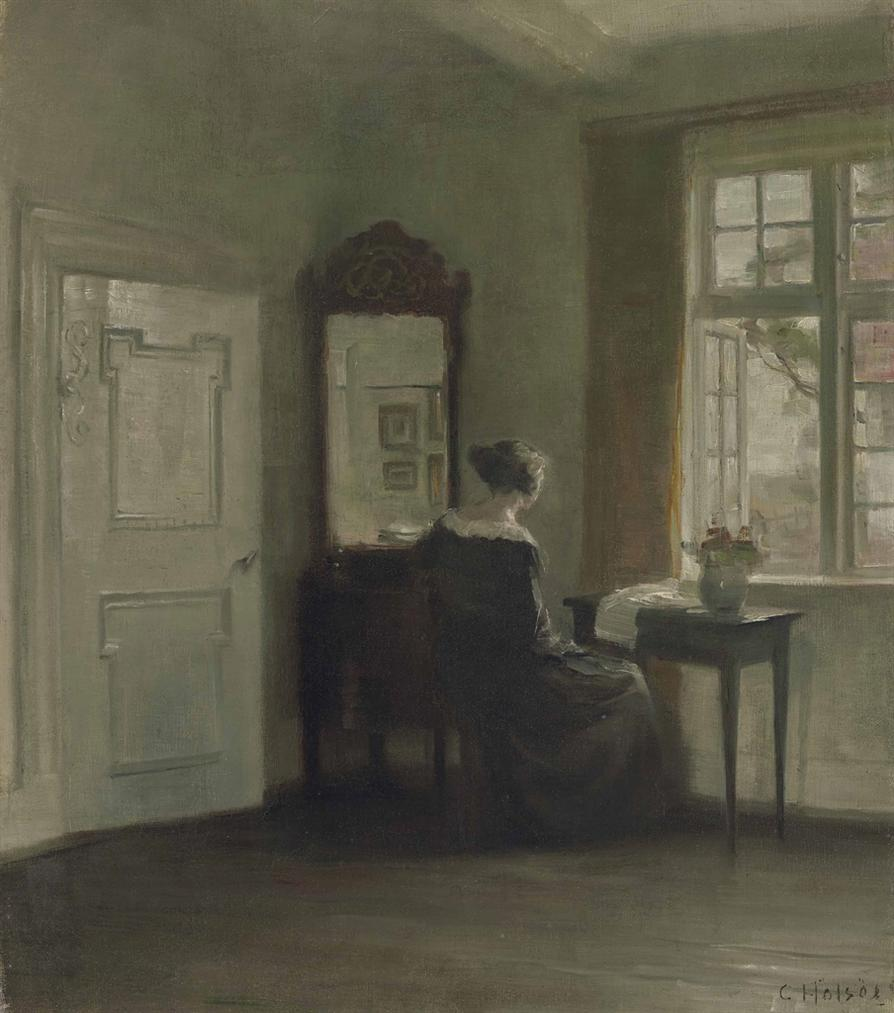 Carl Vilhelm Holsoe - Interior With A Woman At The Window-