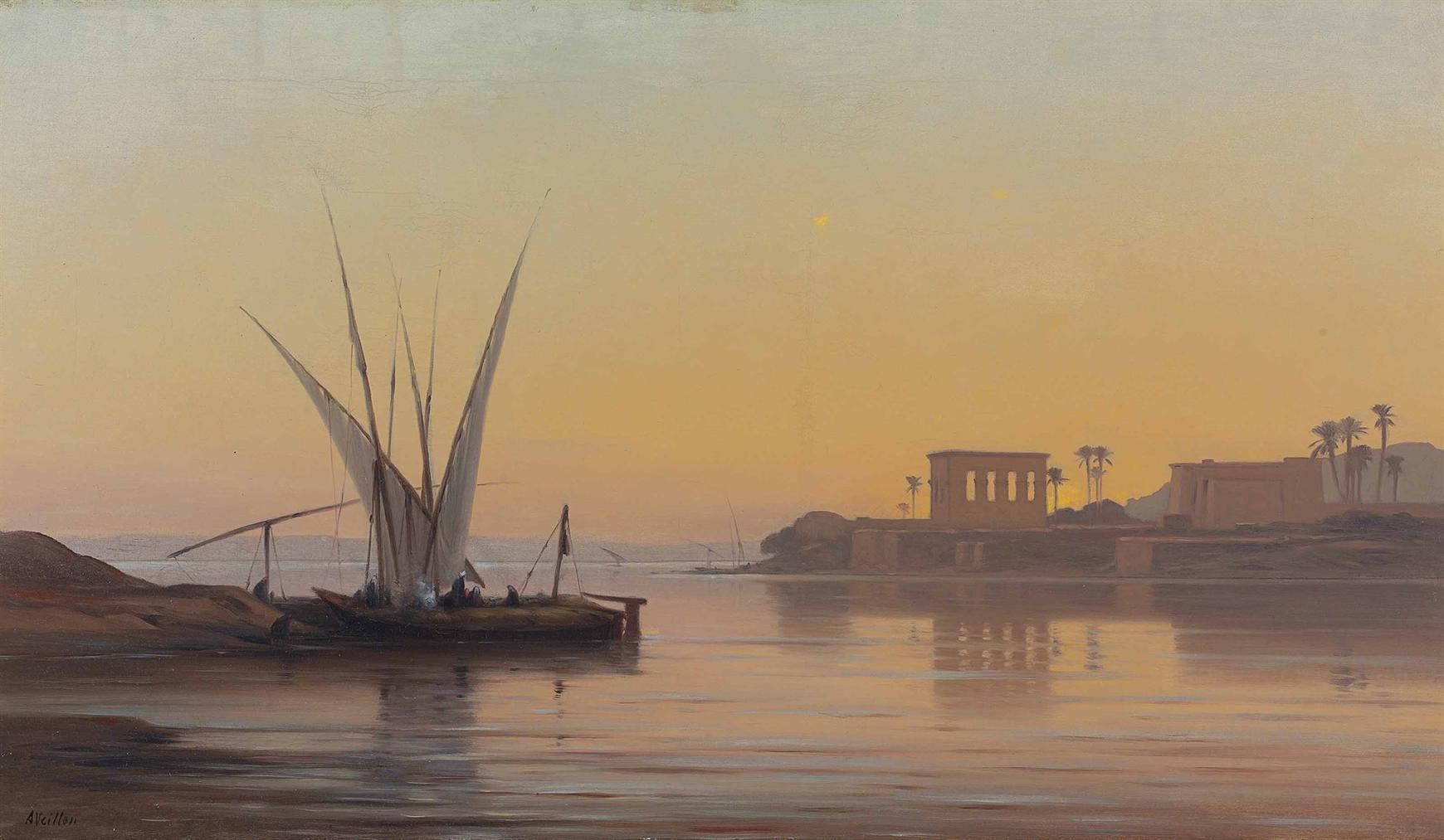 Auguste Louis Veillon - The Temple At Philae-