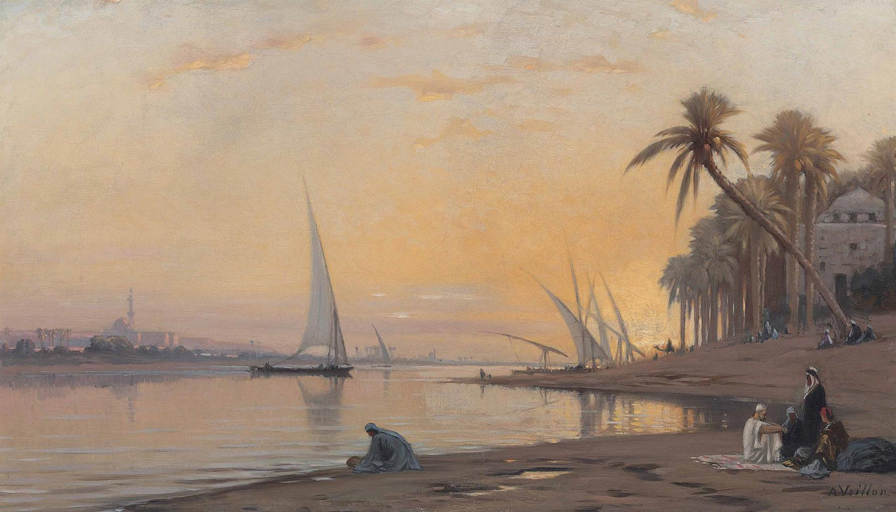 Auguste Louis Veillon - Arabs On Banks Of The Nile-