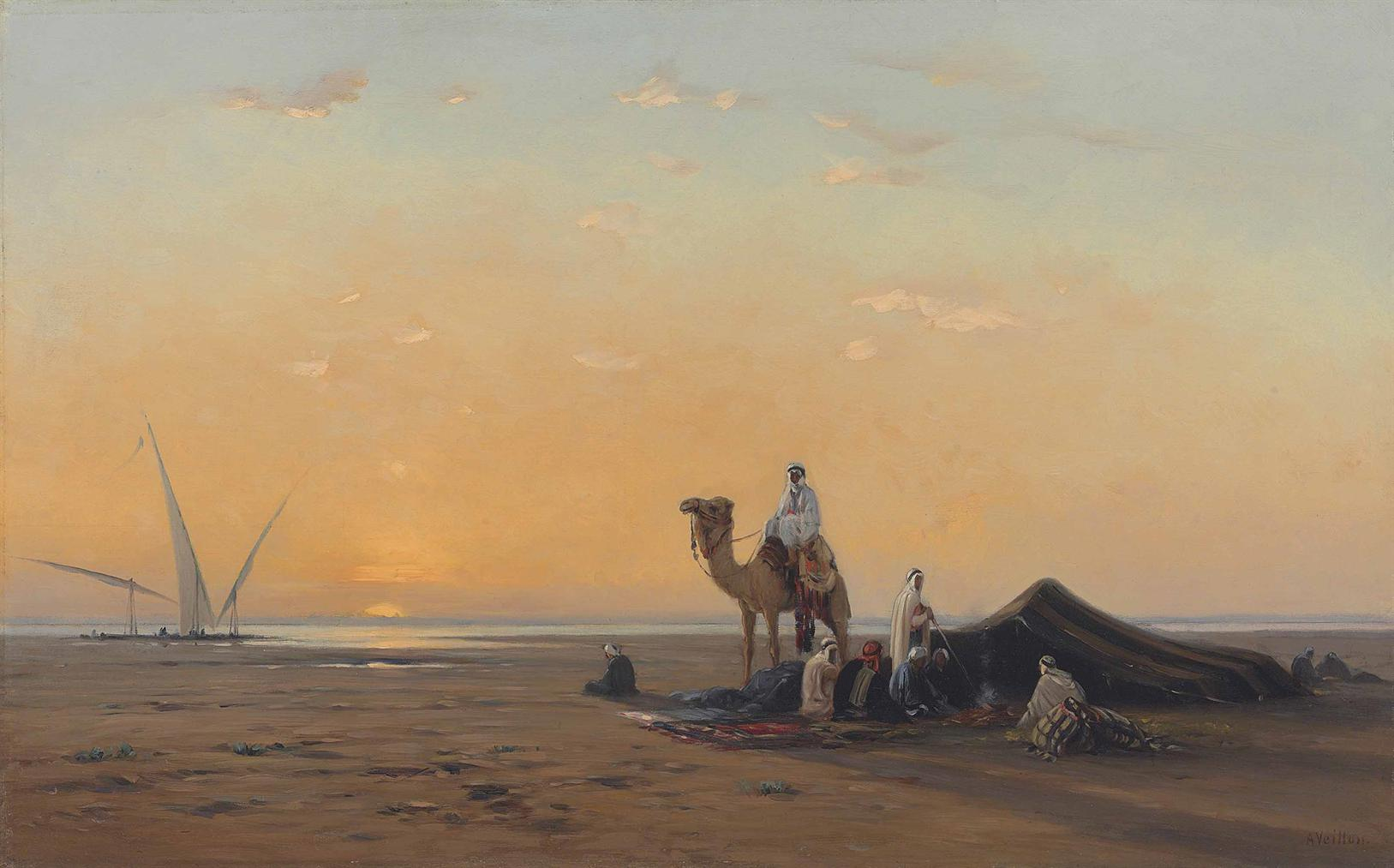 Auguste Louis Veillon - Arab Encampment By The Nile-