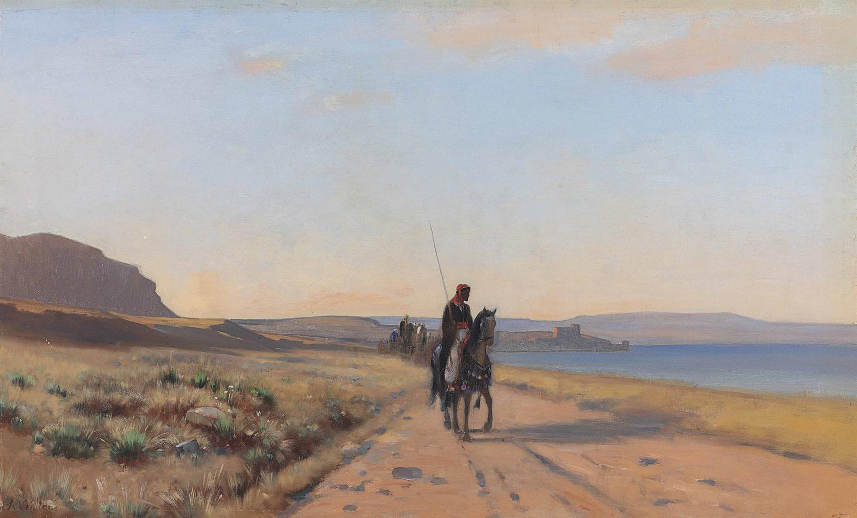 Auguste Louis Veillon - An Arab On Horseback-