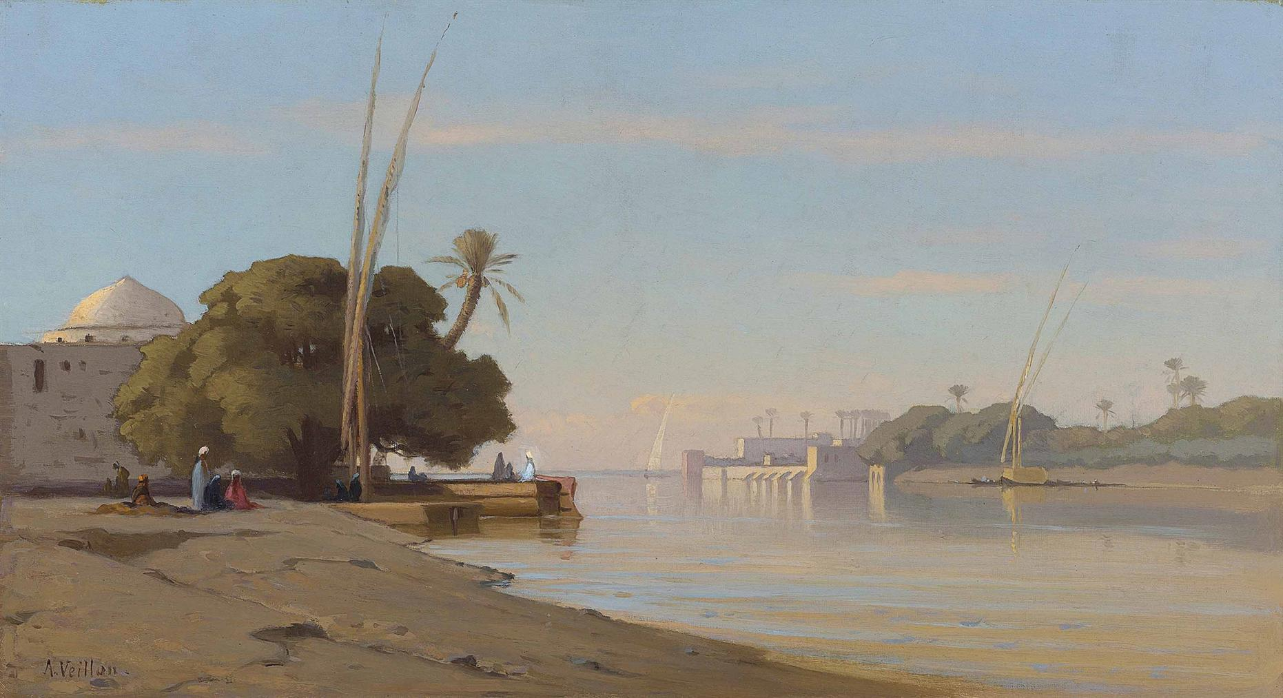 Auguste Louis Veillon - Mosque On The Banks Of The Nile-