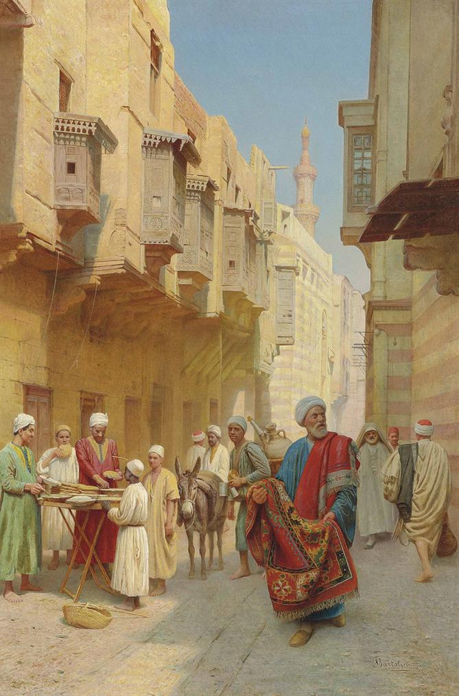 Filippo Bartolini - A Cairo Street Scene, With A Khubz Bread Seller, A Rug Merchant And A Water Seller-