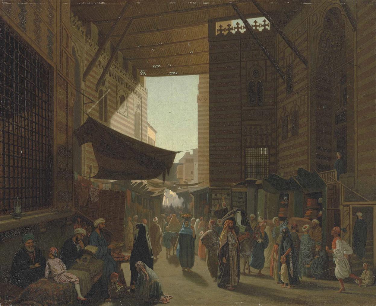 Louis Emile Pinel De Grandchamp - At The Bazaar, Cairo-