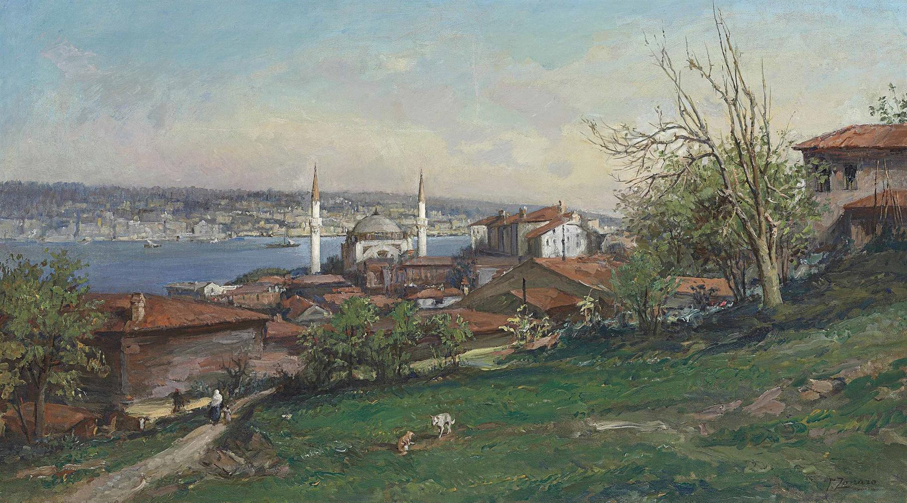Fausto Zonaro - A View Of Constantinople With The Dolmabahce Mosque Seen From The Hills Of Gumussuyu-