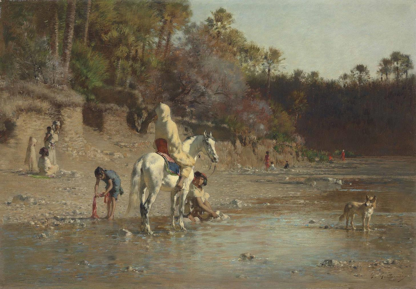 Gustave Achille Guillaumet - On The Bank Of The El Kantara River-