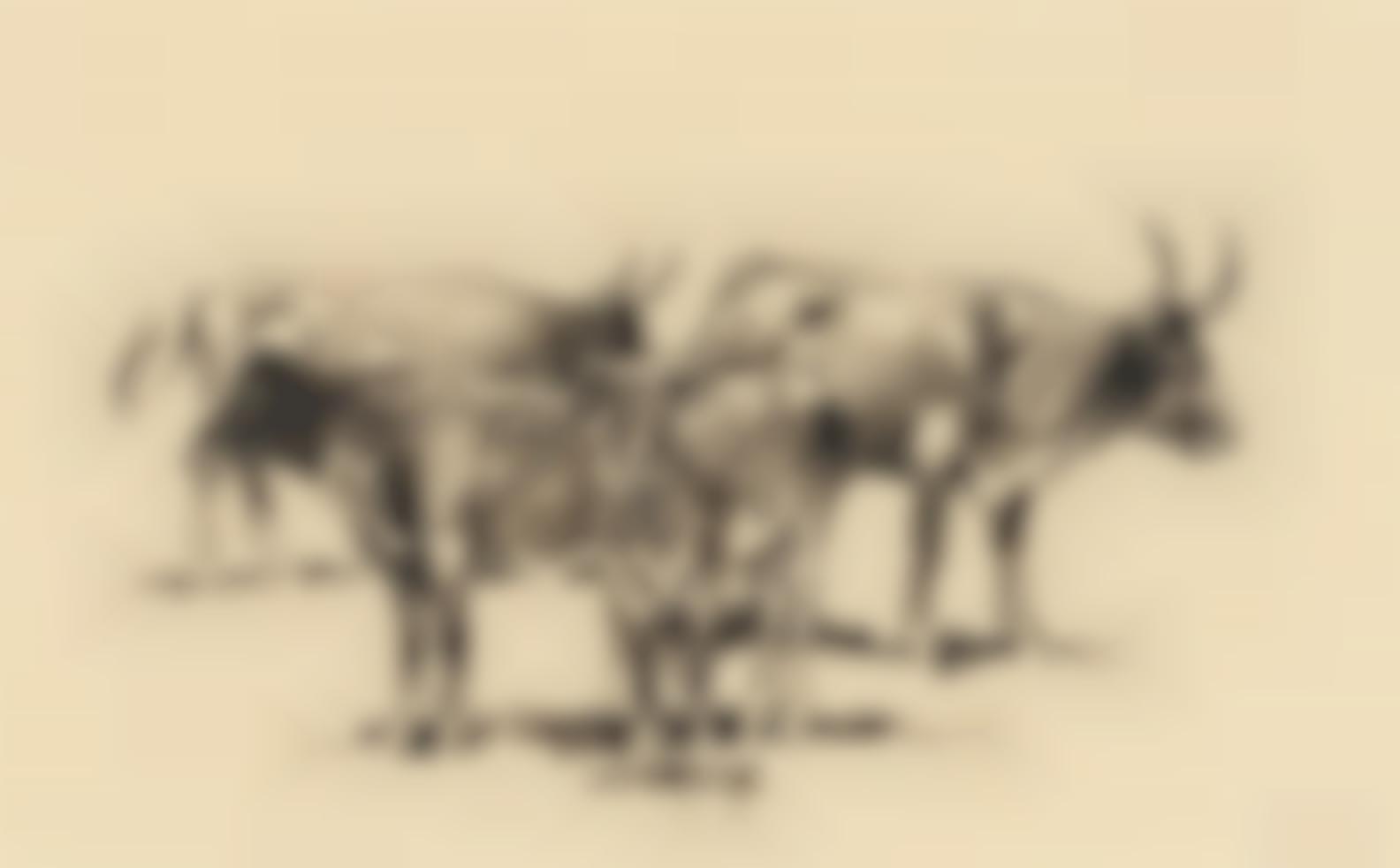 Edward Borein-Running Horses; Standing Cattle; Roping Steer; Running Steer (A Group Of Four)-